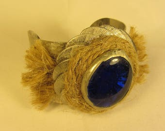 Silver Chunky Cuff Bracelet with Blue Glass Pendant and Natural Twine