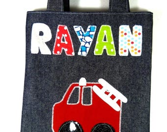 Library bag child pattern for fire trucks