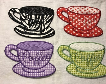 Set of 4 Mix & Match Embroidered Coasters