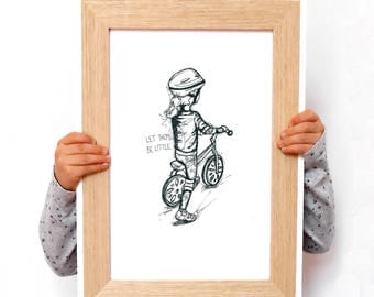 """PERSONALISED ORIGINAL ILLUSTRATION of a little girl riding her bike. """"Let Them Be Little"""". Size A4."""