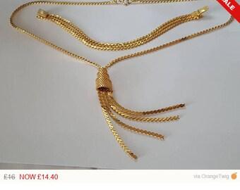 Stunning Quality Vintage Gold Plated Tassle Necklace & Bracelet Set