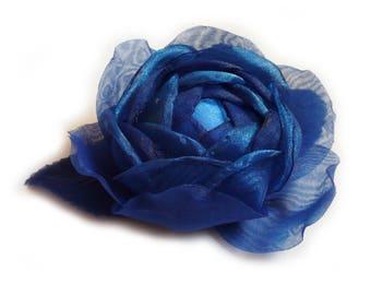 Flower brooch made of organza, Royal Blue.