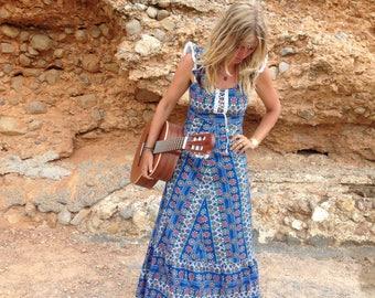 Original Hippie long blue dress