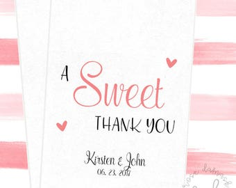 A Sweet Thank You, Favor Bags, Popcorn Bags, Wedding Candy Buffet, Candy Bags, Buffet Bags, Cookie Bags, Wedding Favors, RD70