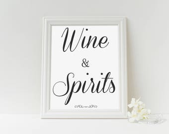 wine and spirits event sign printable, S_Elegance