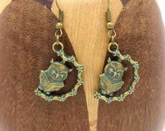 Wise owls, bronze and turquoise earrings earrings neat animals