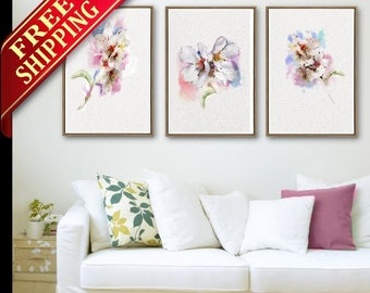 Cherry Flower Wall Art Flower Decor Room Art Print, Set 3 Flower Cherry Living Room Art Print Cherry Flower Wall Art Decor Gift Idea (LP089)