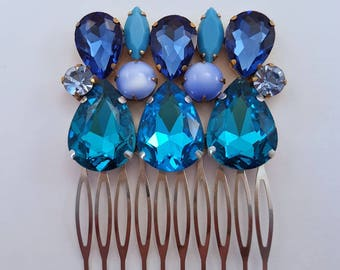 """Blue Rhinestone Hair Comb, Hair Accessory, Hair Jewelry, Crystal Hair Comb, Blue Wedding Hair Comb, Event, Prom, Statement,""""Oceania"""""""