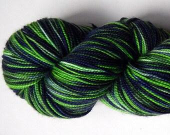 Green and navy blue hand-dyed merino superwash sock yarn, 100 grams, 400 yards