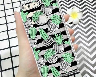 Google case, pixel 2 case, pixel cactus case, pixel 2xl case,cactus, google pixel case, cute, clear pixel case,silicone case,cactus case