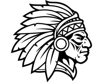 Indian Chief Culture Native Traditional Tribal Feather Warrior .SVG .EPS .PNG Vector Space Clipart Digital Download Circuit Cut Cutting