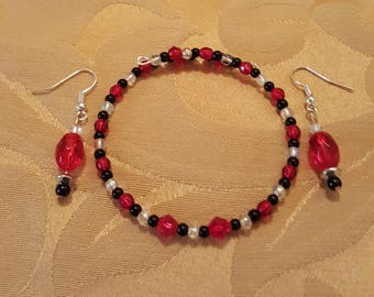 red,black,and white memory wire wrap bracelet and earring set