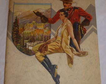 "vintage canadian pacific railroad brochure of the ""resorts of the rockies"" with map"