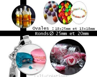 Candy - 60 round 25 Digital Images and 20 mm and oval 18 x 25 and 13 x 18 mm