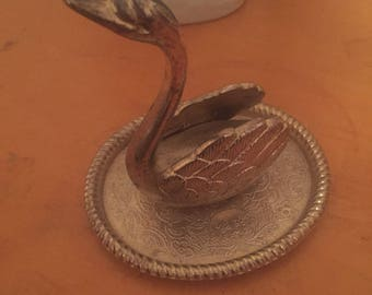 Antique Silver Plated Swan Figurine
