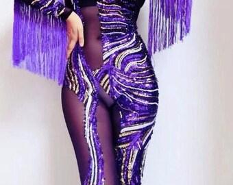 Purple sequin tassle leotard