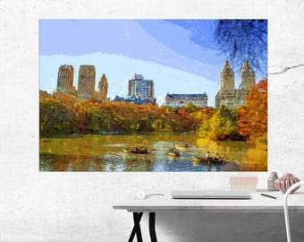 Autumn in Central Park, NYC - Modern Art Painting - Canvas Print