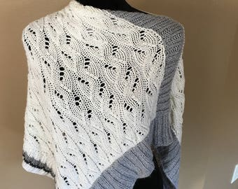 Knitted long laced poncho