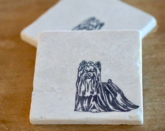Yorkie Dog marble Coaster/ Yorkshire Terrier/ dog coaster/ dog gift/ marble coaster/coaster set/tile coasters/stone coasters/ Christmas gift