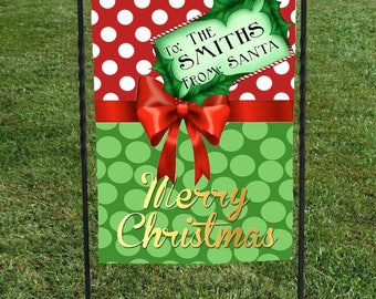Christmas Present Persalizede Garden Flag, Gift Tag from Santa, Red with White Polka Dots, Green dots, red ribbon, Christmas Yard Art