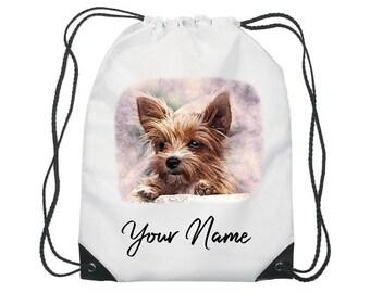 Personalised Watercolour Dog Gym Bag PE Dance Sports School Swim Shoe Bag Waterproof