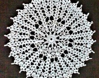 White Lace Doily Centerpiece