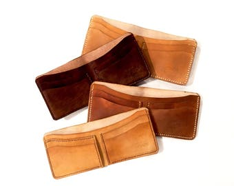 Men's Leather wallet | bi-fold wallet | handmade, hand-stitched | brown leather canoe wallet