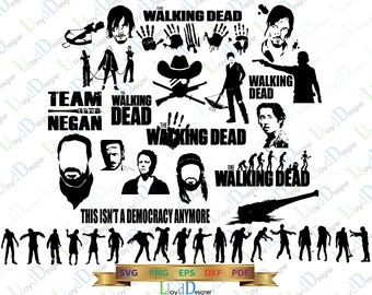 The Walking Dead SVG png DXF eps TWD svg the walking dead clipart Negan Glenn Daryl Dixon Rick Carl for Print Silhouette Cameo Cricut ...