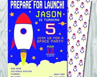 Space Rocket Invitation Birthday Invite Digital