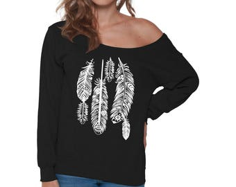 Native Feathers Off Shoulder Sweatshirt for Women Feather Off The Shoulder Baggy Sweatshirts for Free Spirits