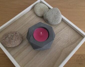 Small anthracite hexagonal concrete tealight / set of 1