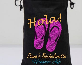 Black Bachelorette Favor Bags, Flip Flops Bags, Fuchsia, Black Drawstring Bags, Personalized Party Gifts, Hola, Hangover Kit