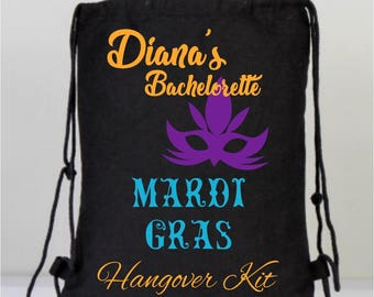 Black Canvas Bachelorette Backpack, Mardi Gras Mask, Marti Gras Bag, Wedding Bag, Personalized Party Favors, Black Marti Gras Backpack