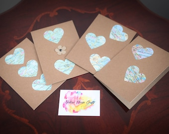 Map heart cards- blank greetings card