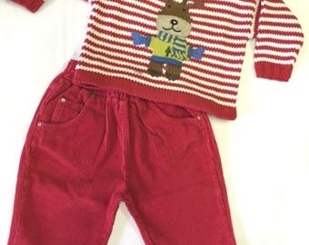 And Then There Was Jake Reindeer Stripe Sweater and Pants Set