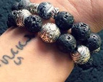 Bracelets man/woman of Protection and inking - lava - Silver Black Onyx gemstone