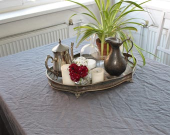 """Charcoal Extra large extra wide linen tablecloth 95 x 70"""" (240x178cm) from natural large linen tablecloth large custom tablecloth rectangle"""