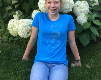 Ladies Veloci-Cat print T-shirt, heather blue,  sz M