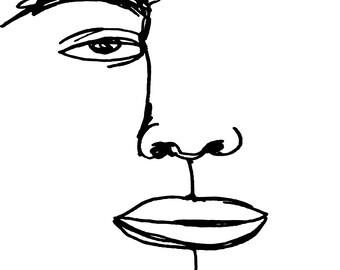 Dead Eye - Black & White Line Drawing Print