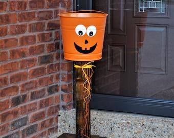 Pumpkin candy bucket stand