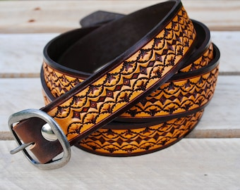 Hand Tooled Leather Belt. Personalized gift. Handmade leather belt. Men's belt. Women's belt. Made in USA. Hand crafted belts. Hand stamped.