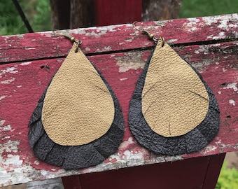 Classic Gold and Black Fringed Raindrop Earrings