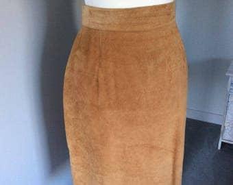 Vintage 1990s tan suede pencil skirt UK size 12