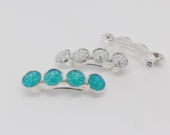 Bar & cabochons 12 mm blue or silver