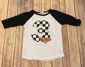 Cars Checkered Number Shirt, Cars Birthday Shirt, Number Shirt, Checkered Flag