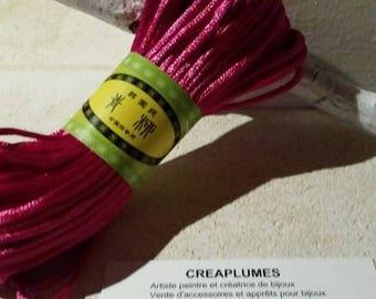 Set of 20 m polyester thread bracelet, 2mm Fuchsia pink cord