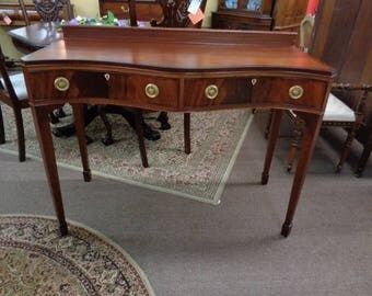 Classic Federal Mahogany Console Table with Silver Drawer, ca. 1930   Inv# 2401B