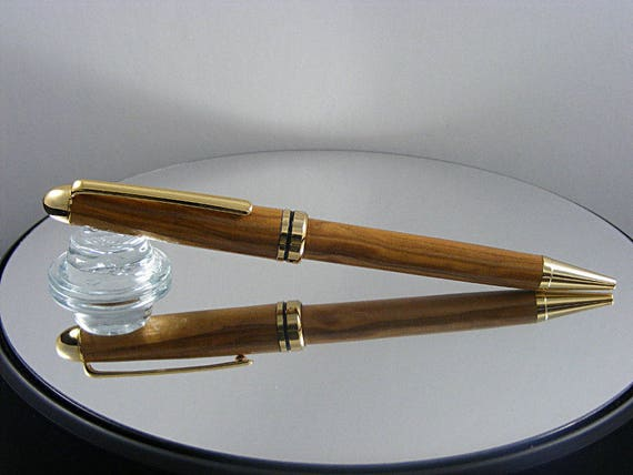 Handcrafted Classic Pen in 24kt Gold and Olivewood