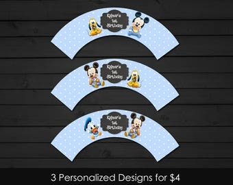 Personalized Baby Mickey Mouse Cupcake Wrapper Printable Birthday Party Pluto Chalkboard Baby Blue Polka Dots Printable DIY - Digital File