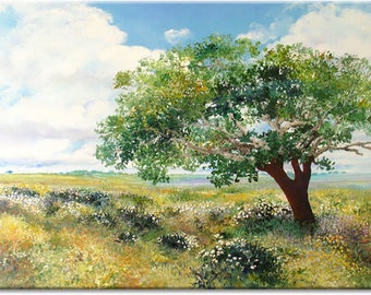 A broad view, tree... Landscape original painting, nature art | wedding birthday gift | ready to hang 'home sweet home' or for your office